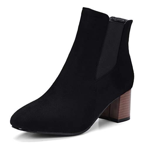 SERAPH 710-2 Damen Chelsea-Stiefel aus Wildleder Square-Toe Blockabsatz gedruckte Stiefeletten,Black,35EU - Black Square Toe Cowboy-stiefel