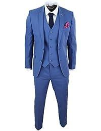 b33ae2576d5 Costume Homme Lin 3 pièces Bleu Ciel Coupe cintrée Slim pour Mariage fêtes  soirées