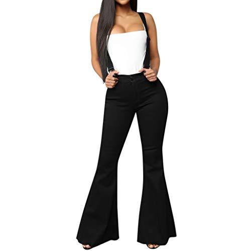 Damen Freizeithose Slim Haremshose,Ausgestellte Hose mit hoch tailliertem Knopfreißverschluss und Jeansriemen Hohe Taille Reißverschluss Jeans Knopfleiste Hosen Bell-Bottom-Hosen S-3XL - Twill Womens Cargo Pocket Hosen