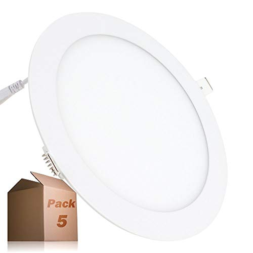 Placa LED 20W Circular SuperSlim (Pack 5) Panel Downlight LED Blanco Frío...