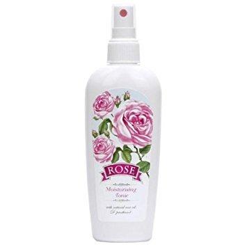 Rosenwasser Gesichtstonic Spray mit Naturreines Rosenöl, Vitamin B5 und Rosa Canina Frucht-Extrakt, 150 ml