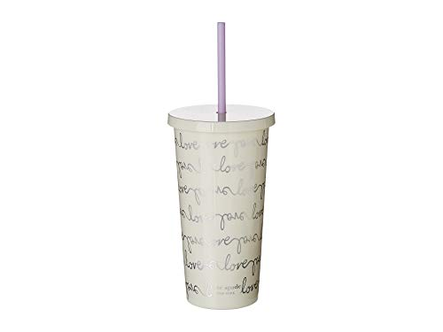 Kate Spade New York Insulated Tumbler with Reusable Silicone Straw, 20 Ounces, Love Script -