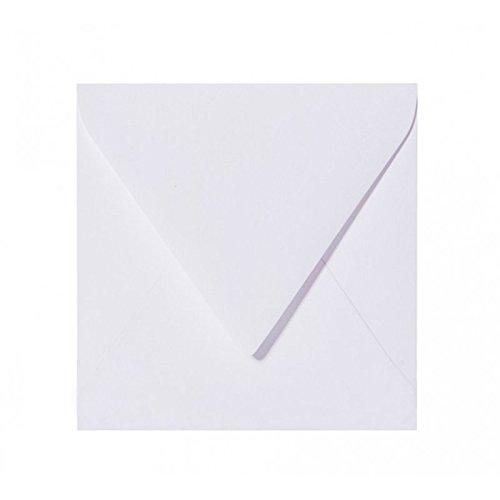 50 quadratische Briefumschläge 110 x 110 mm, 11x11 cm, 120 g/m² mit Dreieckslasche Farbe: 00 Weiß