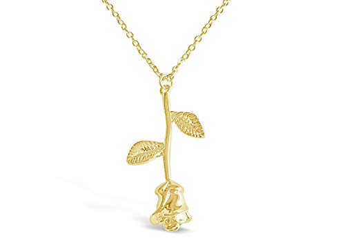 3D Rose Halskette, romantische Rose Geschenke für Frauen, Blume Anhänger Halskette, Schönheit und das Biest Schmuck, Rose Schmuck, Rose Anhänger Halskette in Gold, Silber, Rose Gold oder Carbon ()
