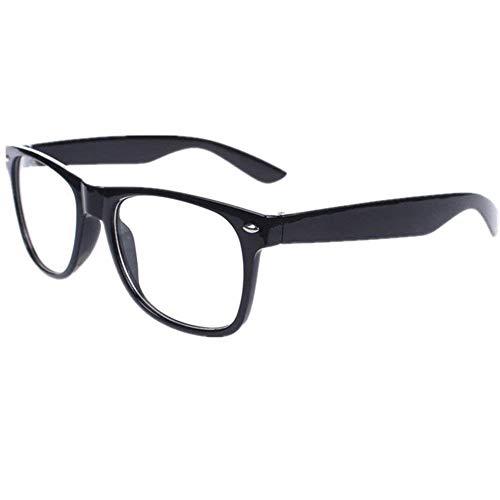 lujiaoshout Unisex stilvolle Gläser Platz Nicht Brille freies Objektiv Eyewear Art und Weise Klassische Retro-Kostüme Gläser für Partei Halloween Schwarz