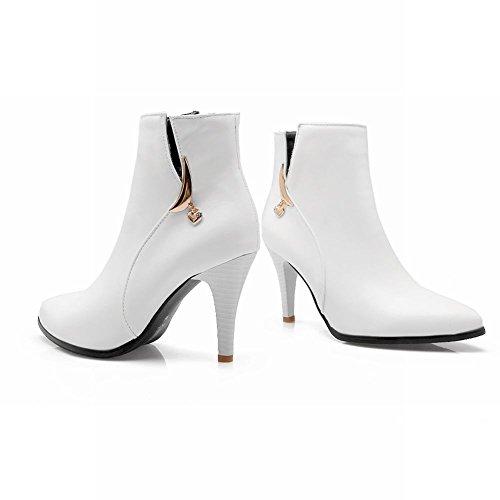 Mee Shoes Damen high heels Reißvereschluss Ankle Boots Weiß