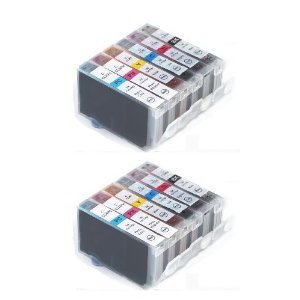 2sets of Noir/cyan/magenta/jaune/photo cyan/photo magenta Multipack compatible Printer Ink Cartridges for Canon Pixma MP500MP520MP520MP530MP600MP600R MP620MP800MP800R MP820MP830MP970MX700MX850Pro 9000–Latest puce Installed.