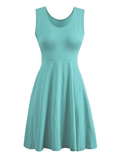 Vestidos hasta la Rodilla para Mujer, sin Mangas, Cuello Redondo,Cintura Ajustada,Falda Plisada,Verano,Casual,Colores Lisos,Azul Claro,42