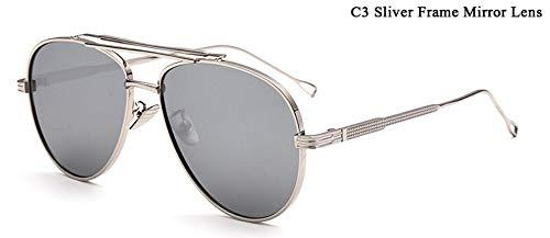 WDDYYBF Sonnenbrillen, Piloten Sonnenbrille Männer Reflektierende Gespiegelt Aviation Sonnenbrille Männlich DREI Strahlen Schattierungen Brillen Uv400 Spiegel Linse