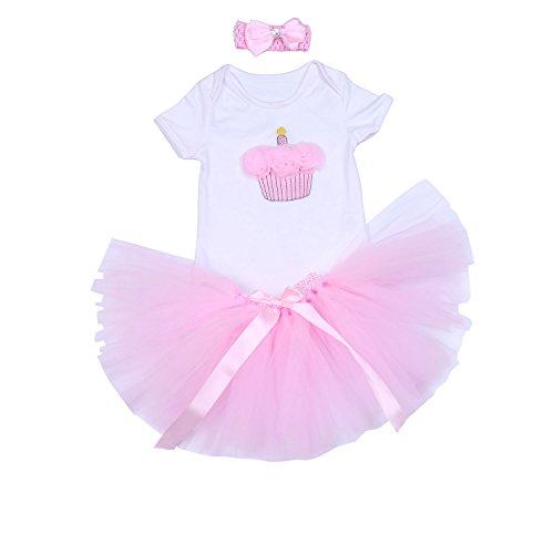BabyPreg Baby Mädchen 3PCs Erster Geburtstag Onesie Tutu-Kleid Stirnband (L/9-12 Monate, Rosa)