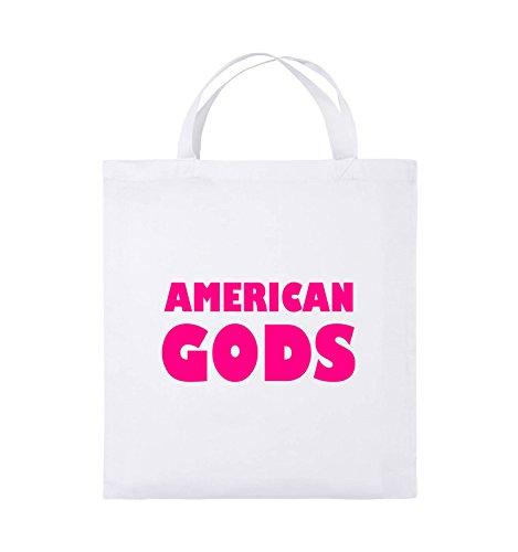 Borse Comiche - American Gods - Logo - Borsa Di Juta - Manico Corto - 38x42cm - Colore: Nero / Argento Bianco / Rosa