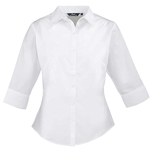 Premier Womens 3/4 Sleeve Popline Formal Work Blouse White*