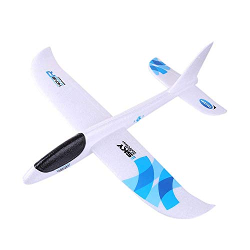 Beaulies Inertia Throwing Foam Airplane for Kids, Hand Launch Glider Plane Inertia Aircraft DIY Airplane Toy Mode (Blue)