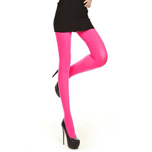 5 Strumpfhosen (Libella Damen bunte Neon Strümpfe in Klassischen und Trendfarben Bonbon Farben Microfaser Strumpfhose Neon-Rosa 05 S)