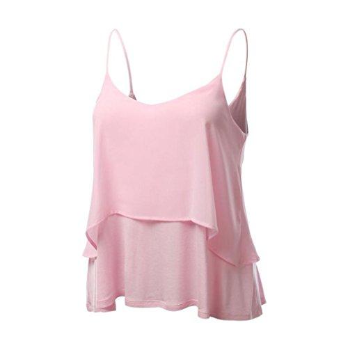 MRULIC Damen T-Shirt Armelloses Top Frauen Verstellbare Schultergurte Runden Hals Leibchen Crop Top(A-Rosa,EU-38/CN-M