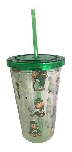 Puckator CUP13 Verre avec Paille/Couvercle motif Farfadet Plastique Vert/Jaune/Blanc/Transparent 10x10x16 cm