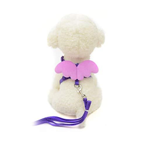 Trifycore Haustier-Hundeleine Harness Einstellbare Welpen Kragen führt Set Weste Band für kleine Hunde mit Engelsflügeln Kitten Größe M (lila) ()