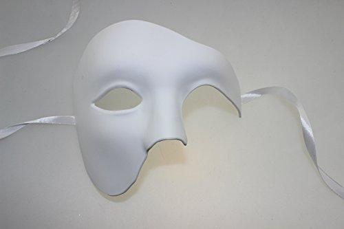 Venezianische Venetianische hochwertige Maske Weiß aus stabilen Material Halb Maske Maskerade Karneval Fasching Verkleidung Kostüm Halloween Party Maskenball Ball Shades of Grey Mr Grey Mitternacht (Schwarze Und Weiße Feder Maske)
