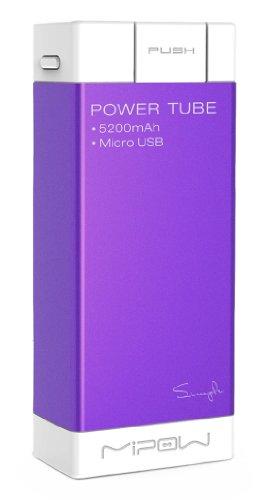 MiPow SPM04-PU Power Tube 5200 mobiler Zusatzakku und Ladegerät für Smartphone/MP3-Player/Tablet/GoPro (5200mAh, microUSB) lila