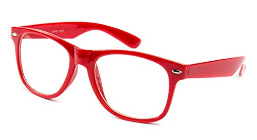 Ciffre Nerdbrille Sonnenbrille Nerd Atzen - Rot Klar Glas ohne Stärke Sonnenbrille Nerd Atzen