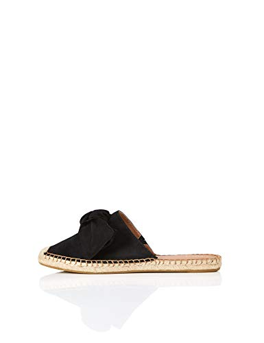 find. Bow Mule Leather Espadrille Sandalias Punta Cerrada, Negro Black, 39 EU