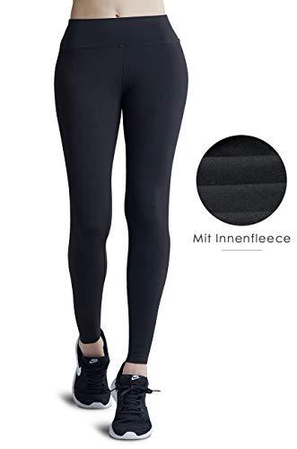 Wirezoll Leggings für Damen, Blinkdicht Lange Leggins Strumpfhose aus Baumwolle, Gr.-XXL, Schwarz mit Innenfleece