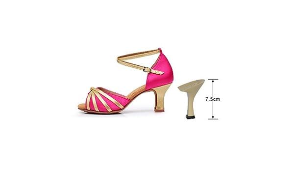 YFF Frauen Ballsaal/Latin Salsa Modern Dance Schuhe mit hohen Absätzen, rot, 75 mm, 7.