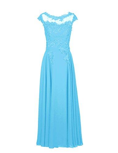 Dresstells, Robe de soirée robe de cérémonie robe de gala col rond longueur ras du sol Bleu