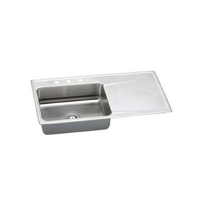 Elkay ILR4322R1 1-Hole Gourmet Lustertone Stainless Steel 43-Inch x 22-Inch Single Right Basin Top-Mount Kitchen Sink by Elkay