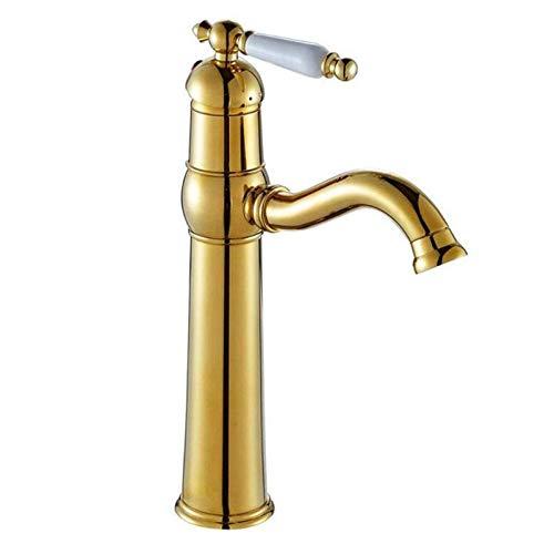 Waschbecken Wasserhahn retro Wasserhahn Europäischen vergoldet reinem Kupfer Heizungshahn heißes und kaltes Wasserhahn Einlochmontage Wasserhahn Waschbecken Wasserhahn