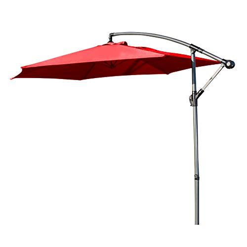 Ziigo Sonnenschirm Rechteckig Ampelschirm 295cm Schirm Balkon mit Handkurbel UV-Schutz Bespannung Kurbelvorrichtung Marktschirm Rechteckig Knickbar Gartenschirm Rot