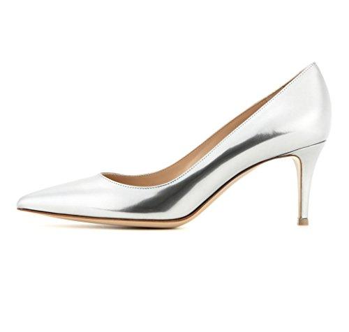 EDEFS Spitz Damen Pumps Klassische Kitten Heel Absatz Pointed Toe Schuhe Silber Größe EU38