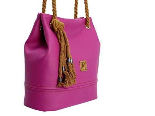 Handtasche Damen, Magenta, Pink, Lila, mit Kordel, handmade - 2