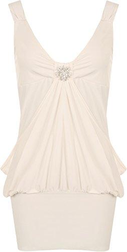 WearAll - Robe sans Manches Courte et Bouffante avec Un Ourlet serré et Une Broche - Robes - Femmes - Nude - 48-50