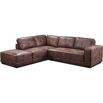 Oakridge Large Leather Corner Sofa - Tan (Left Hand Facing + ...