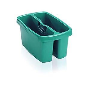 Leifheit Eimer Combi Box mit 2 Kammern für Wasser & Putzutensilien, platzsparend stapelbarer Putzeimer, Aufbewahrungsbox für Eimer Combi