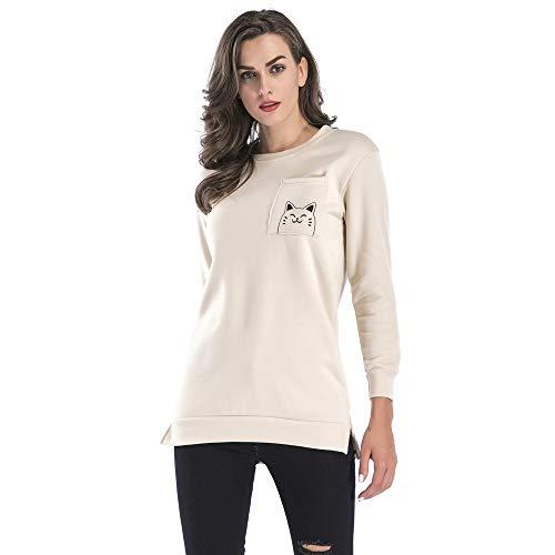 (Beginfu Frauen Sweatshirt Herbst und Winter Pocket Niedlich Cat Printed Einfarbig Rundhalsausschnitt Sweatshirt Langarm Pullover Frisch Tops Bluse Freizeit Schlankes Hemd)