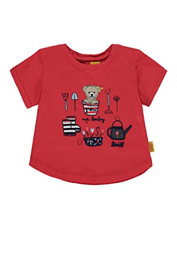 Steiff Baby-Mädchen 1/4 Arm T-Shirt, Rot (Hibiscus 2104), 80 (Mädchen Besser T-shirt)