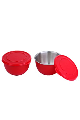 Homeish Metallo Microwave Safe Stainless Steel Plastic Coated Bowls with Lid (Red) Set of 2 - 13cms