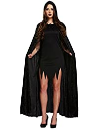 Disfraz medieval de Halloween, bruja pagana, vampiro, con capucha, capa de terciopelo