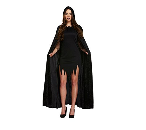 Adults Long Dracula Robe Soft Velvet With Hood Halloween Costume Medieval Pagan Witch Wicca Vampire Free post mytoptrendz (Black)
