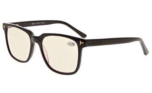 Eyekepper Amber getöntes Objektiv Optisch-Qualität Computer Brillen mit RX-Able Acetate Rahmen für Männer UV & Blue Light Protection Braun +0.0