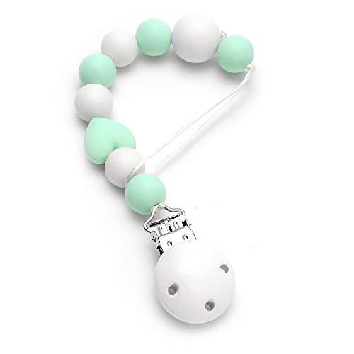 RUBY - Schnullerkette silikon, baby-schnuller , antibakterielles silikon mit holzclip (Türkis Pastell / Weiß) -