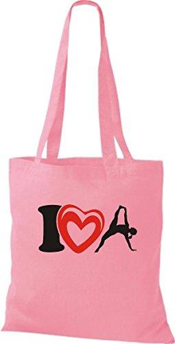 ShirtInStyle Stoffbeutel Baumwolltasche I Love Yogo Joga Sport Gymnastik Farbe Pink rosa