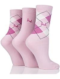 Pringle Ladies 3 Pair Louise Argyle Cotton Socks 4-8 Ladies Pinks