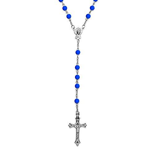 SoulCats® Rosenkranz in verschiedenen Farben Kette Kreuz blau rosa gelb grün schwarz, Farbe:blau - Und Rosa Blau Rosenkranz