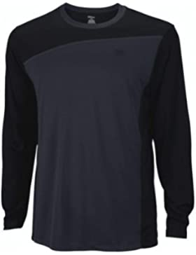 Wilson T-Shirt M Rush Colorblock Long Sleeve Crew - Camiseta para hombre, color black/coal/tm, talla M