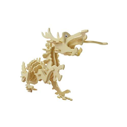 Dosige 3D Holz Tier Puzzle Simulation Puzzlespiel Spiel DIY Montage Drache Modell Spielzeug für Kinder und Erwachsene(für 3, 4, 5, 6 Jahre Alt und Oben) (Holz-puzzle 3d Drache)