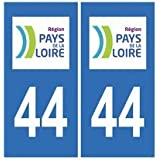 Autocollant plaque immatriculation auto département 44 Loire Atlantique