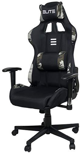 ELITE Racing Gaming Stuhl Camo - Bürostuhl - Kunstleder - Ergonomisch - Racer - Drehstuhl - Chair - Chefsessel - Schreibtischstuhl (Weiß/Camo)